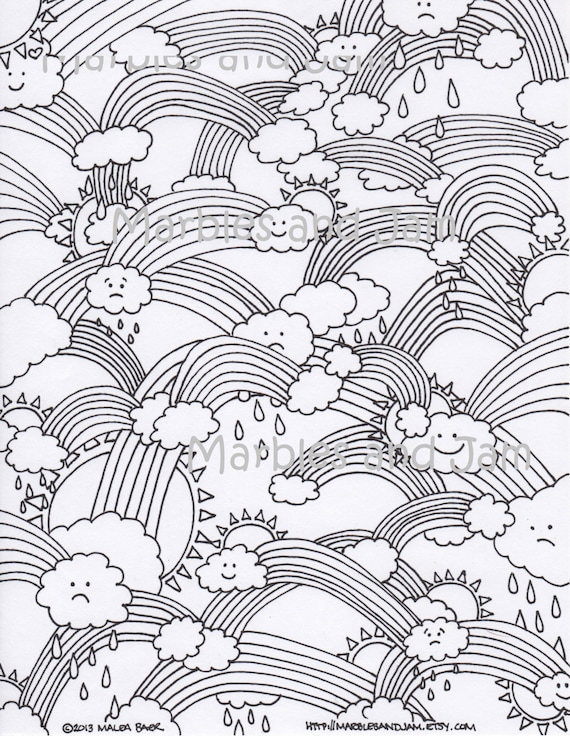 Rainbows clouds and sunshine printable adult coloring page ...