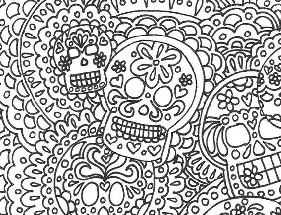 - Day Of The Dead Sugar Skull Printable Adult Coloring Page Dia Etsy