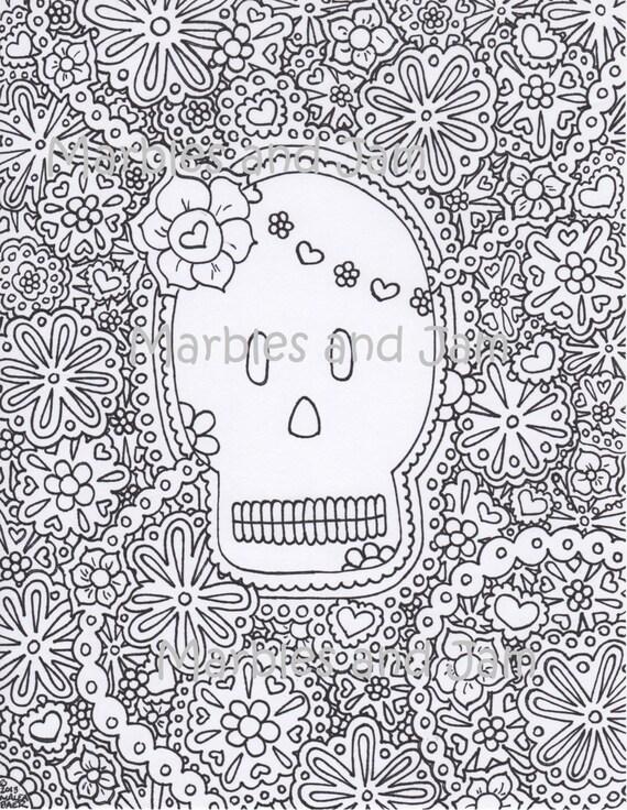 Tag der Toten Sugar Skulls druckbare Erwachsenen Färbung | Etsy