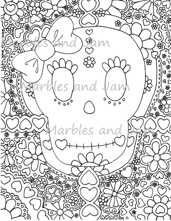 Day Of The Dead Sugar Skulls Coloring Page Dia De Los Muertos Etsy