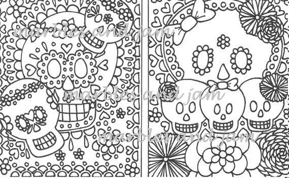 - Day Of The Dead Sugar Skull Adult Printable Coloring Page Dia Etsy