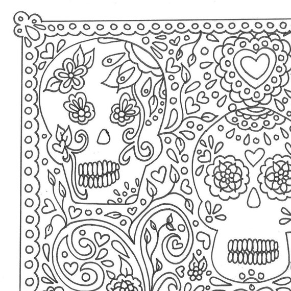 Day Of The Dead Sugar Skulls Printable Adult Coloring Page Etsy