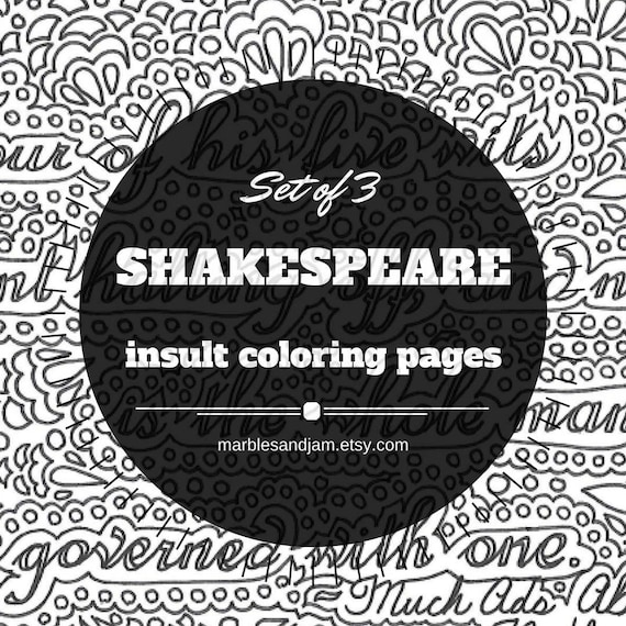 shakespeare insults set of 3 printable coloring page quotes