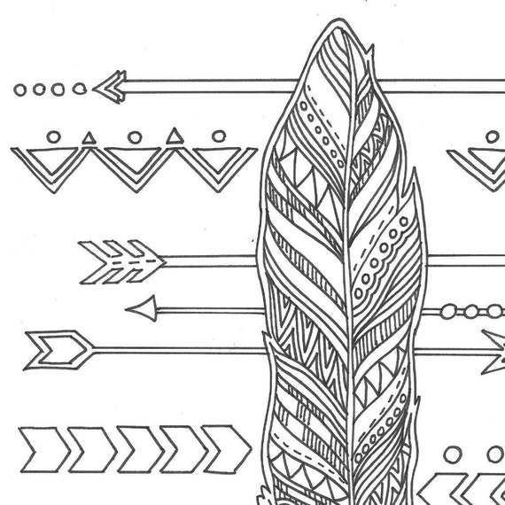 - Feather And Arrows Adult Coloring Page Etsy