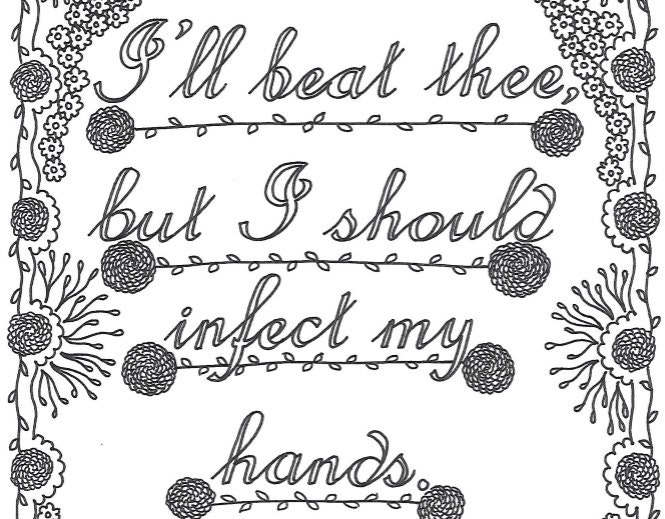 shakespeare insults printable coloring page quote i ll etsy