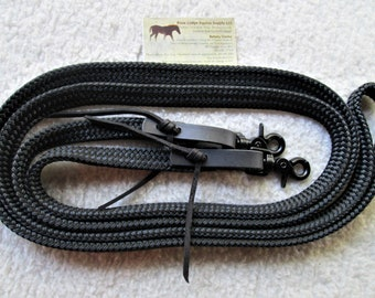 Yacht Rope Reins w BLACK Snaps Black DB Polyester Yacht Braid. something a little different! Brown Leather Water Straps n Black Laces