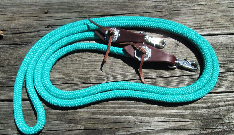 small Slobber Straps 8/' Yacht Rope Trail  Barrel Horse Reins w Flared Water Loops 12 or 916 Rope! w Jeremiah Watt Conchos