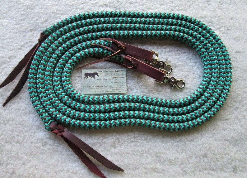 Yacht Rope SPLIT Reins w Water Loop Leathers and Clips  7/' . Choose from 8 colors of 12 yacht rope..Custom made by Rose Lodge Equine !