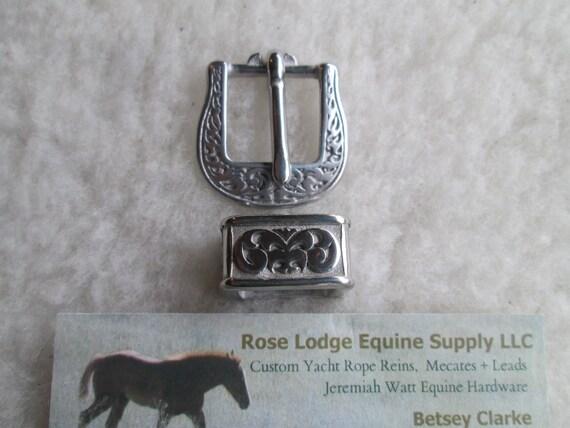 Square Neat Jeremiah Watt Heel Buckle /& Keeper Loop Smooth Grooved Horse Tack