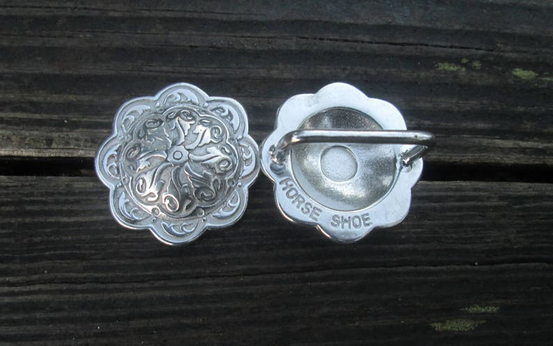Floral Conchos Jeremiah Watt Bridle Loop Backs Stainless Steel Horse Tack Black