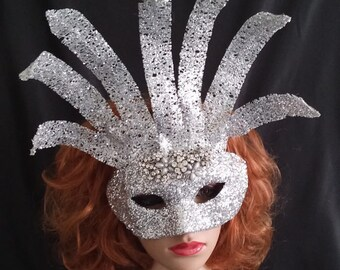 Silver Masquerade Mask,Glitter Mask,Crystal Mask,Bridal Mask,Quinceanera Mask,Theatre Mask