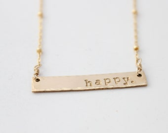 Smile Love Order Any Word Or Name Kindness Gold Pendnat Name Tag Necklace Happiness Feel Good Jewelry