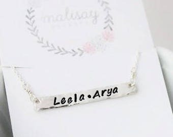horizontal bar necklace, stamped names mothers necklace, personalized name tag, modern jewelry, kids names necklace, skinny bar