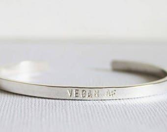 vegan af bracelet, vegan jewelry, animal rights, thin stacking bracelet, vegan cuff, customized bracelet