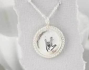 American sign language I love you, ASL I love you necklace, gift for sisters, best friend gift, hand stamped sterling silver