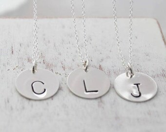 Initial Necklace, Letter Necklace, Silver Initial Disc, Round Personalized Disc , Choose Your Initial Jewelry , Custom Monogram