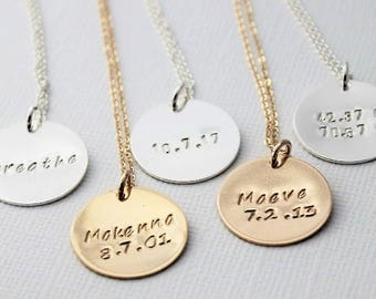 coordinates necklace, custom jewelry, word of the year, yoga jewelry, custom jewelry, gift for sisters, personalized and hand stamped