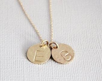 mom necklace • children's initial necklace • gold disc initial • mommy jewelry • new mom push present • grandma gift for Mother's Day