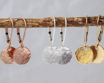 tiny gold disc earrings   dainty gold earrings   every day jewelry   gold or silver dangle earrings   simple earrings