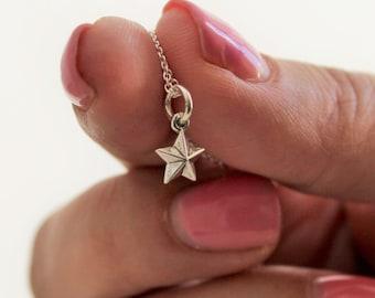 tiny charm necklace, tiny star necklace, starfish necklace, angel wing necklace, sand dollar necklace, minimalist jewelry, tiny cross