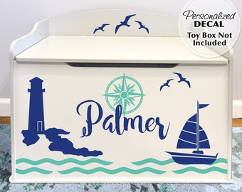 Beach Decor Nautical Personalized Decal for Toy Box: Anchors, Boat, Lighthouse, Seagulls, Custom Name Baby Nursery Decor, Toy Chest Storage