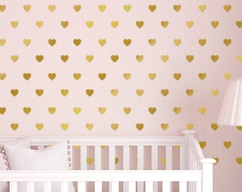 Nursery Decor Hearts Wall Pattern Decals, Nursery Heart Decor, Metallic Gold Peel and Stick Heart Wall Decal Stickers, Wall Confetti