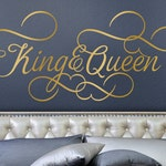 King and Queen Bedroom Decor, Romantic Bedroom Decal, Gold Wall Decal Wedding Gift for Couple, Headboard Removable Decal
