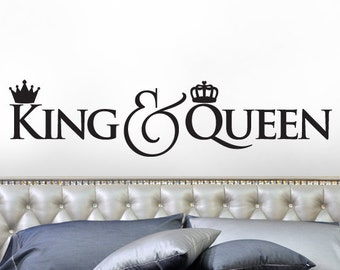 King and Queen Crown Decor, Bedroom Decor Wall Decal, Gift for Couple, Headboard Vinyl Wall Decal, Script Font Decal (0179c138v)