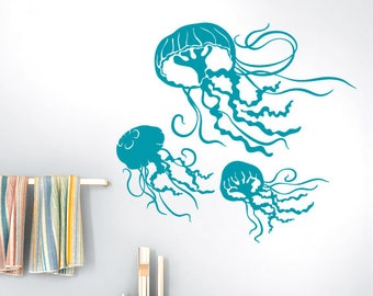 Jellyfish Decals, Underwater Decor Decal, Under the Sea Beach Decor, Bathroom Wall Decor, Sea Life Wall Decor, 3 Jelly Fish (0179c30v)