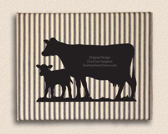 Farmhouse Nursery Decor Animals Dairy Cow & Baby Calf Art Canvas Wall Hanging, Navy Striped French Ticking Cottage Wall Decor (008b16)