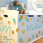 Toy Box Decal, 100 Dots, Name & Initial Personalized for Baby Nursery Decor, Toddler Bedroom Playroom, Sample Madison Gold Mint Vinyl