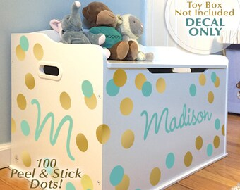 100 Dots, Name and Initial: Personalized Toy Box Decal for Baby Nursery Decor, Toddler Bedroom, Playroom [Shown in Gold & Mint Vinyl]