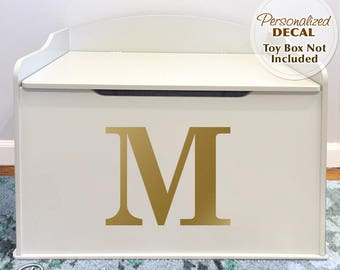 Personalized Toy Box Decal, Any Initial or Number (shown in Metallic Gold) for Baby Nursery Decor, Toy Chest Removable Vinyl Decal