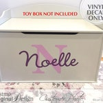 Personalized Toy Box Decal, Monogram Decal for Toy Chest, Toy Storage Removable Vinyl Decal, Shown: Noelle PFbxni