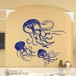 3 Jellyfish Decals - Bathroom Wall Decor, Under the Sea Room Decor, Sea Life Wall Decor, Marine Life Decal