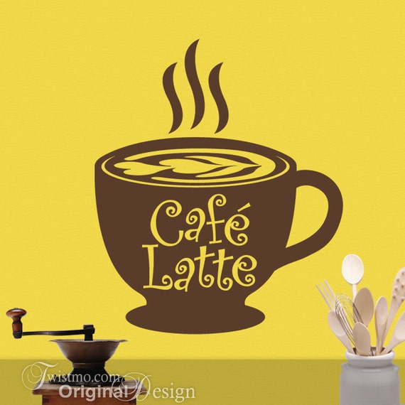 Kitchen Coffee Decor Big Coffee Mug Cafe Latte Vinyl Decal Etsy