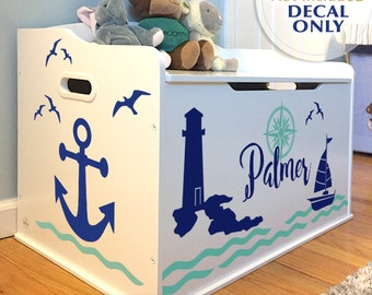 Personalized Toy Box Decal: Nautical Anchors, Boat, Lighthouse, Seagulls with Custom Name for Baby Nursery Decor, Toy Chest