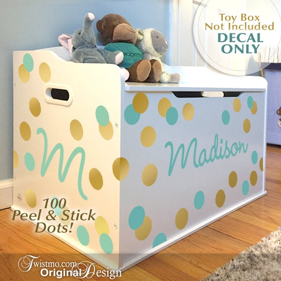 Toy Box Decal 100 Dots Name Initial Personalized For Baby