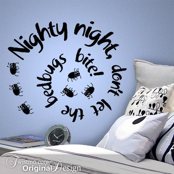 Kids Wall Decal Nighty Night Don T Let The Bedbugs Bite Etsy