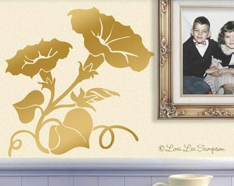 Nursery Decor Flowers Morning Glory Decal: Baby Nursery Decor Metallic Gold Wall Decal (0177d)