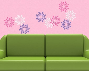 Vinyl Wall Pattern Decals: Polka Dot Burst Blossom Art Designs (shown in Flamingo Pink, Lavender, White)