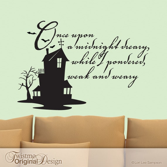 Edgar Allan Poe Quotes: The Raven Vinyl Wall Decal Edgar Allan Poe Quote Haunted