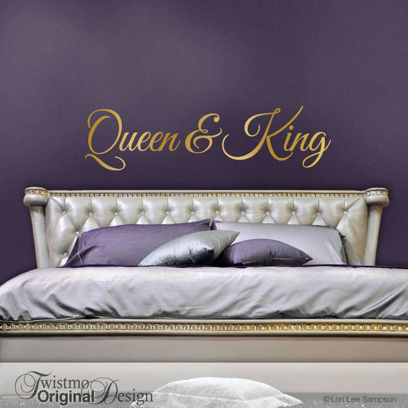 queen and king decor his and hers bedroom vinyl wall decal | etsy