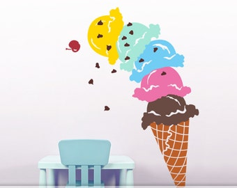 Giant Ice Cream Cone Vinyl Wall Decal, Playroom Decor, Ice Cream Party Decorations, DIY Home Decor, Playroom Decal, Food Decal (0179c94v)