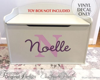 Personalized Toy Box Monogram Decal, Name & Initial for Baby Nursery Decor, Toy Chest Removable Vinyl Decal, Shown: Noelle