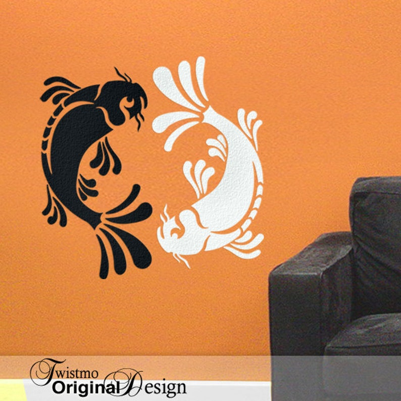 yin yang pisces koi fish vinyl wall decal art black and white | etsy