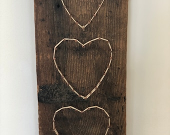 Reclaimed wood 3 hearts , anniversary gift