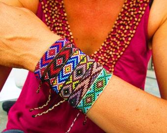 Beaded Friendship Bracelets, Huichol Native American Inspired, Red and Turquoise Beaded Bracelet I