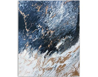 Abstract Art - Navy Blue and Gold Painting