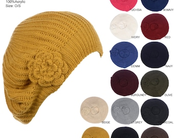 87ac21b234b Hand Made Double Layer Knitted Hat with Flower